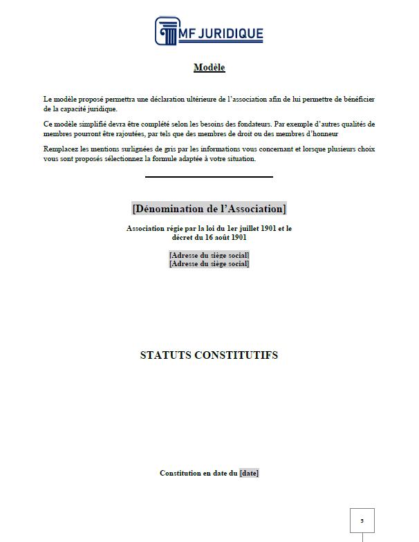 Modele Statuts D Association Loi 1901 Mf Juridique Modeles Et Formalites Juridiques