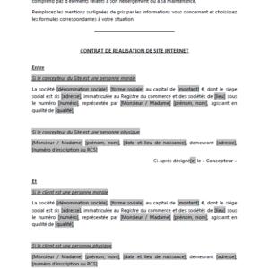 Modèle : Contrat de réalisation de site internet (avec cahier des charges et avec cession des droits de propriété intellectuelle)