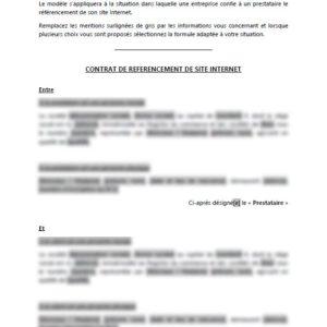 Modèle : Contrat de Référencement de Site Internet
