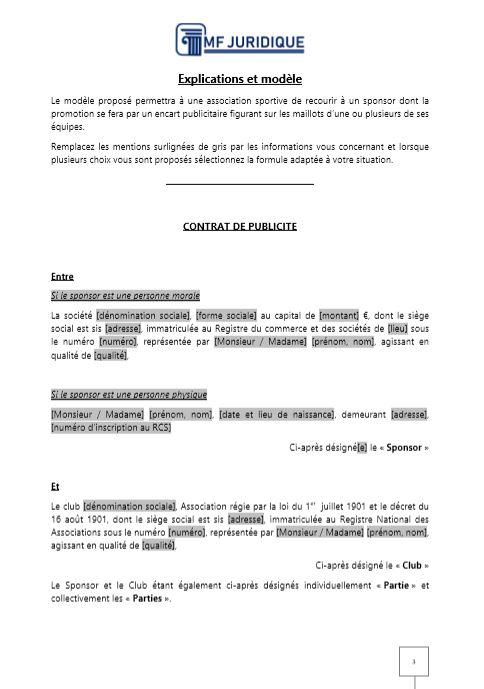 Modele Contrat De Publicite Sur Les Maillots Des Joueurs Association Sportive Mf Juridique Modeles Et Formalites Juridiques