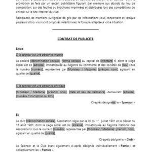 Modèle : Contrat de publicité pour les associations sportives (hors publicité sur les maillots des joueurs)