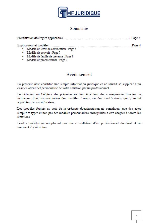 Pack Assemblee Generale Ordinaire D Une Association Mf Juridique Modeles Et Formalites Juridiques