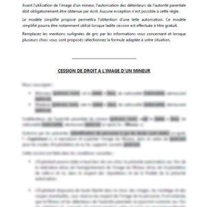 Modèle : Autorisation parentale de cession de droit à l'image d'un mineur