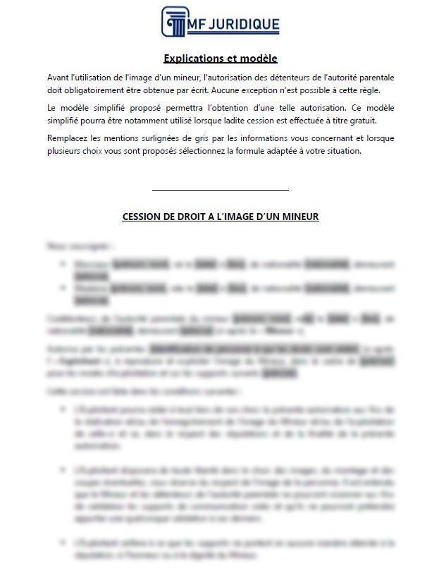 Modele Autorisation Parentale De Cession De Droit A L Image D Un Mineur Mf Juridique Modeles Et Formalites Juridiques