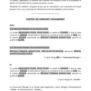 Modèle : Contrat pour Community Manager freelance