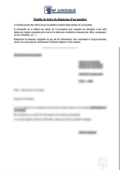 Modele Lettre De Demission D Un Membre Mf Juridique Modeles Et Formalites Juridiques