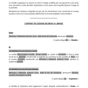 Modèle : Contrat de cession de droit à l'image
