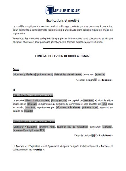 Modèle : Contrat de cession de droit à l'image - MF JURIDIQUE : Modèles et Formalités Juridiques