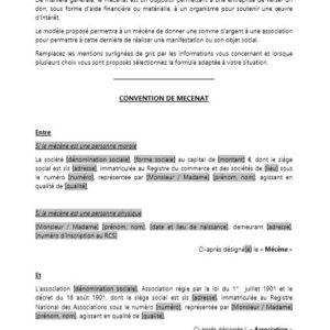 Modèle : Convention de mécénat d'entreprise (don d'une somme d'argent)