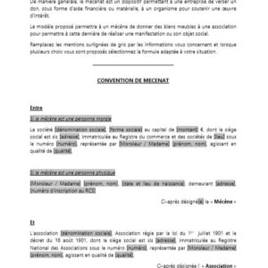 Modèle : Convention de mécénat d'entreprise (don de biens meubles)