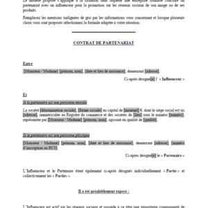 Modèle : Contrat de partenariat avec un influenceur web