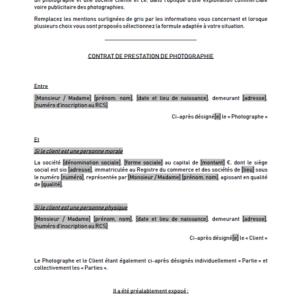 Modèle : Contrat de collaboration avec un photographe (hors couverture d'un événement)