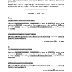 Modèle : Contrat de publicité sur un site internet