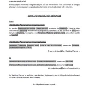 Modèle : Contrat de wedding planner