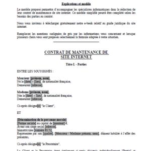 Modèle : Contrat de Maintenance de Site Internet
