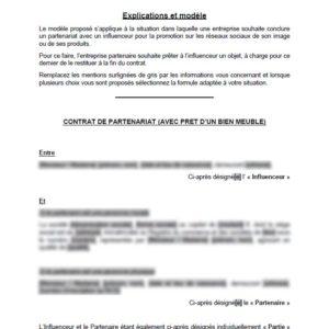 Modèle : Contrat de partenariat avec un influenceur web (avec prêt d'objet)