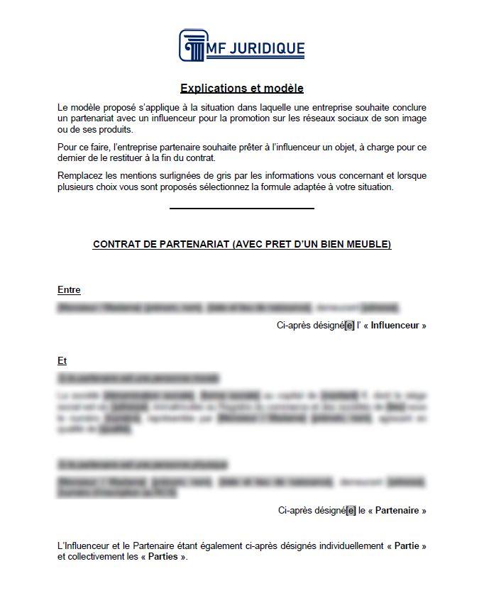 Modele Contrat De Partenariat Avec Un Influenceur Web Avec Pret D Objet Mf Juridique Modeles Et Formalites Juridiques