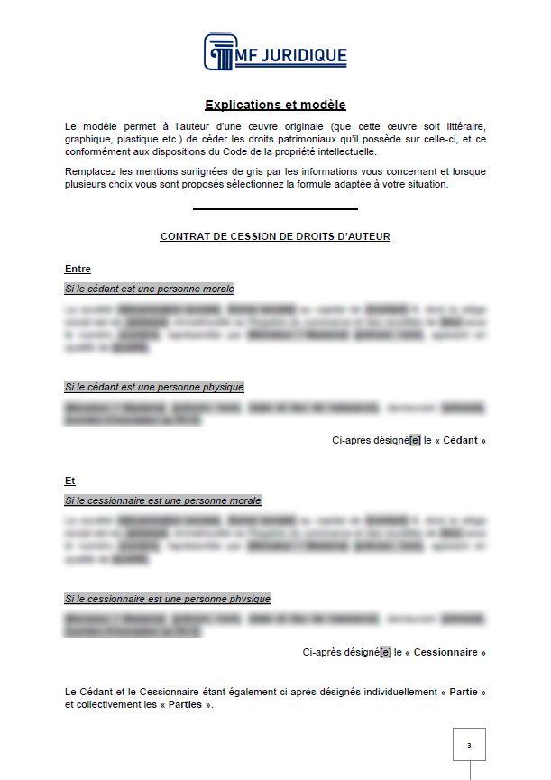 Modele Contrat De Cession De Droits D Auteur Mf Juridique Modeles Et Formalites Juridiques