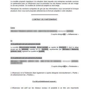 Modèle : Contrat de partenariat avec un influenceur web (droit belge)
