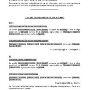 Modèle : Contrat de réalisation de site internet (avec cahier des charges et avec cession des droits de propriété intellectuelle) (droit belge)