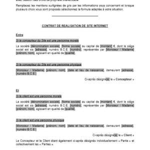Modèle : Contrat de réalisation de site internet (sans cahier des charges et avec cession des droits de propriété intellectuelle) (droit belge)