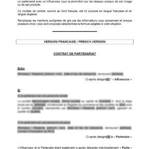 Model contract : partners' agreement with a web influencer (written in English and French)