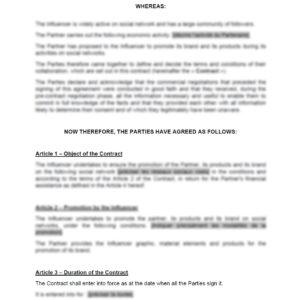 Modèle : Contrat de partenariat avec un influenceur web (rédigé en anglais)