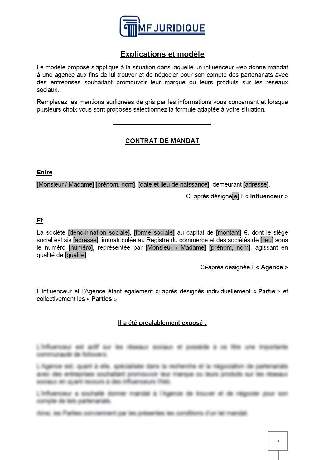 Modele Contrat Entre Une Agence Et Un Influenceur Mf Juridique Modeles Et Formalites Juridiques