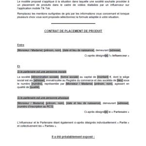 Modèle : Contrat de placement de produits avec un influenceur Tik Tok